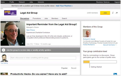 Casual Search for Legal Aid Groups